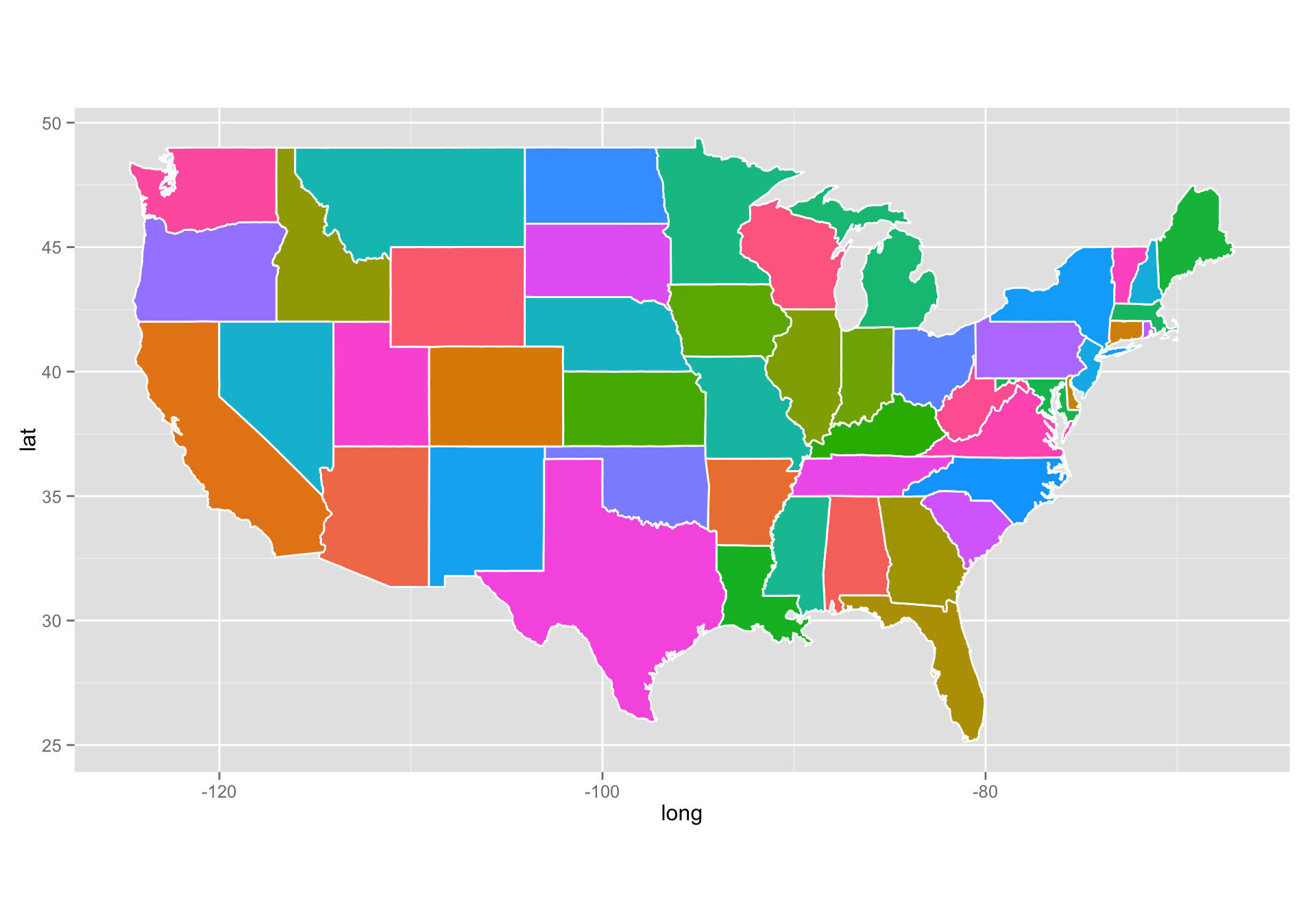Making Maps With R Reproducible Research - Us map color states