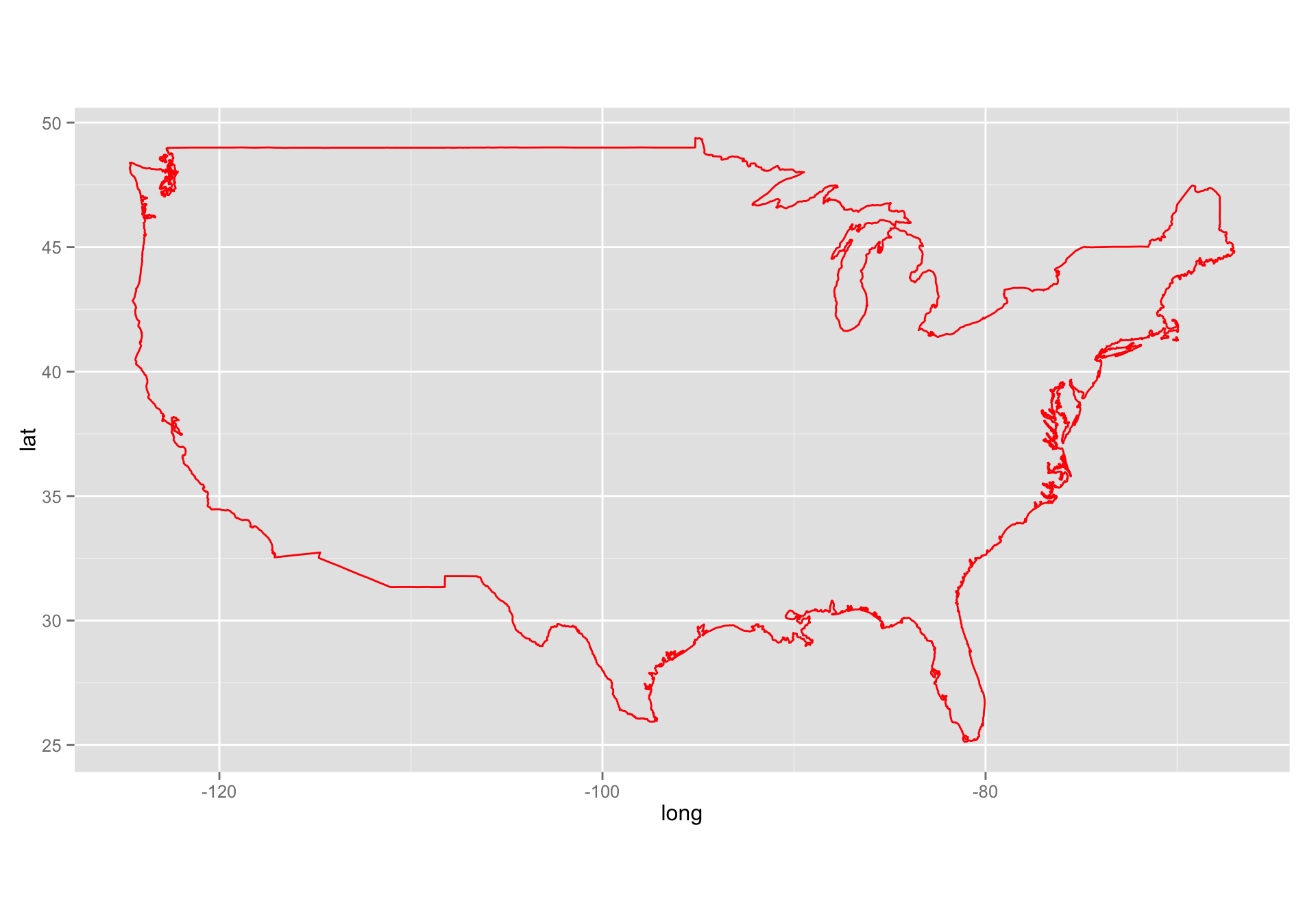 Ggplot Geom Polygon Data Usa Aes X Long Y Lat Group Group Fill Na Color Red Coord Fixed 1 3