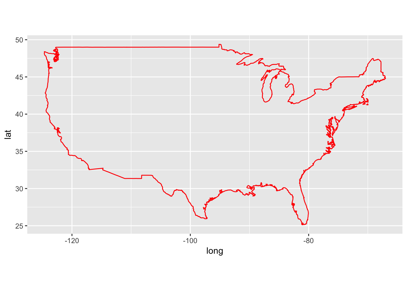 Ggplot Geom Polygon Data Usa Aes X Long Y Lat Group Group Fill Na Color Red Coord Quickmap