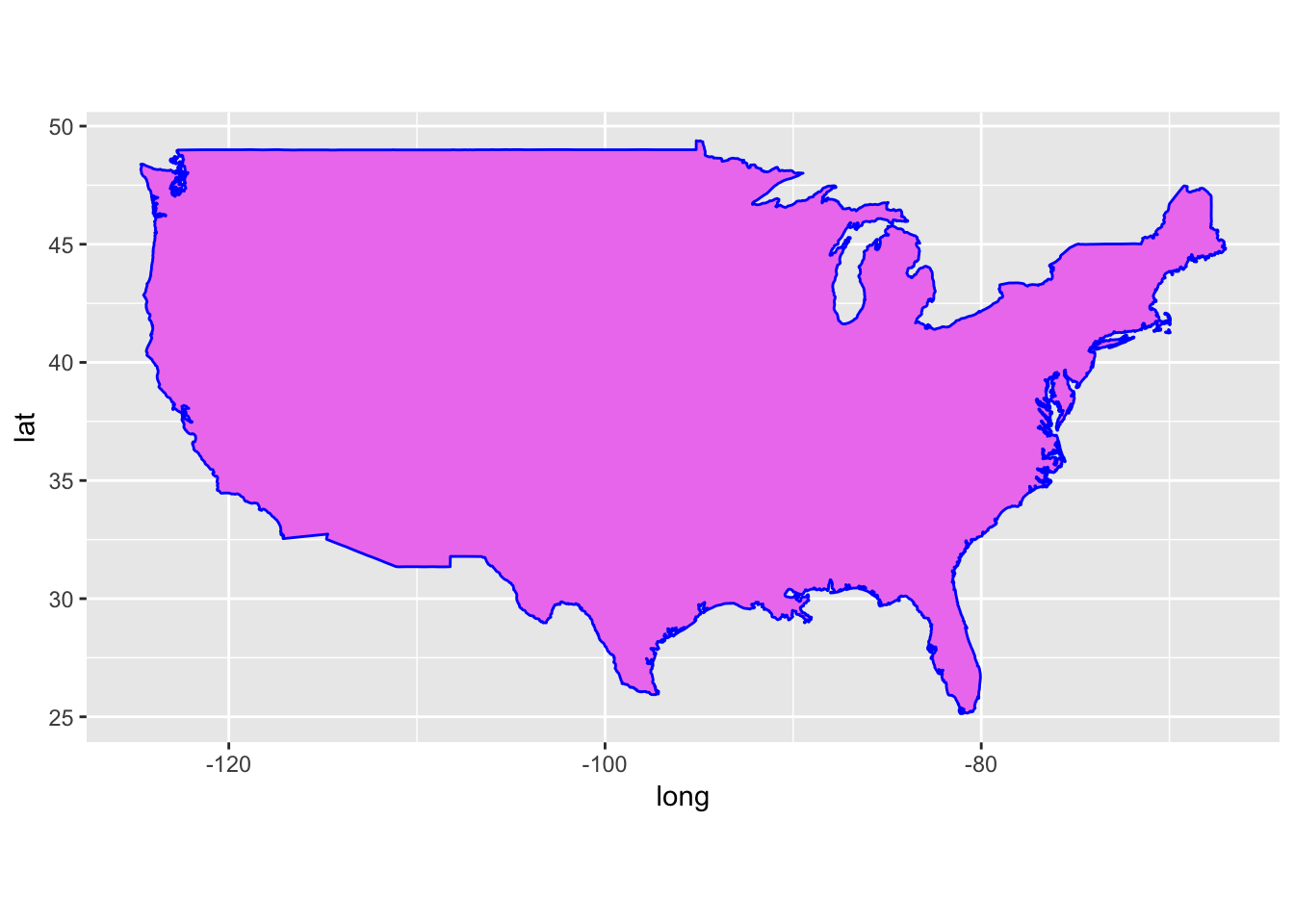 Gg1 Ggplot Geom Polygon Data Usa Aes X Long Y Lat Group Group Fill Violet Color Blue Coord Quickmap Gg1